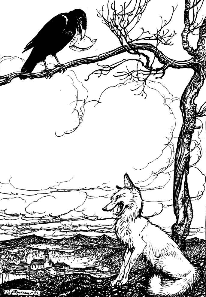 The Fox And The Crow And Cheese Coloring Pages