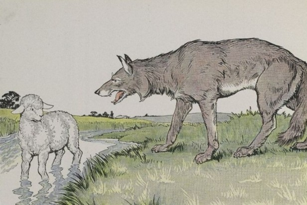 A lamb confronted by a wolf